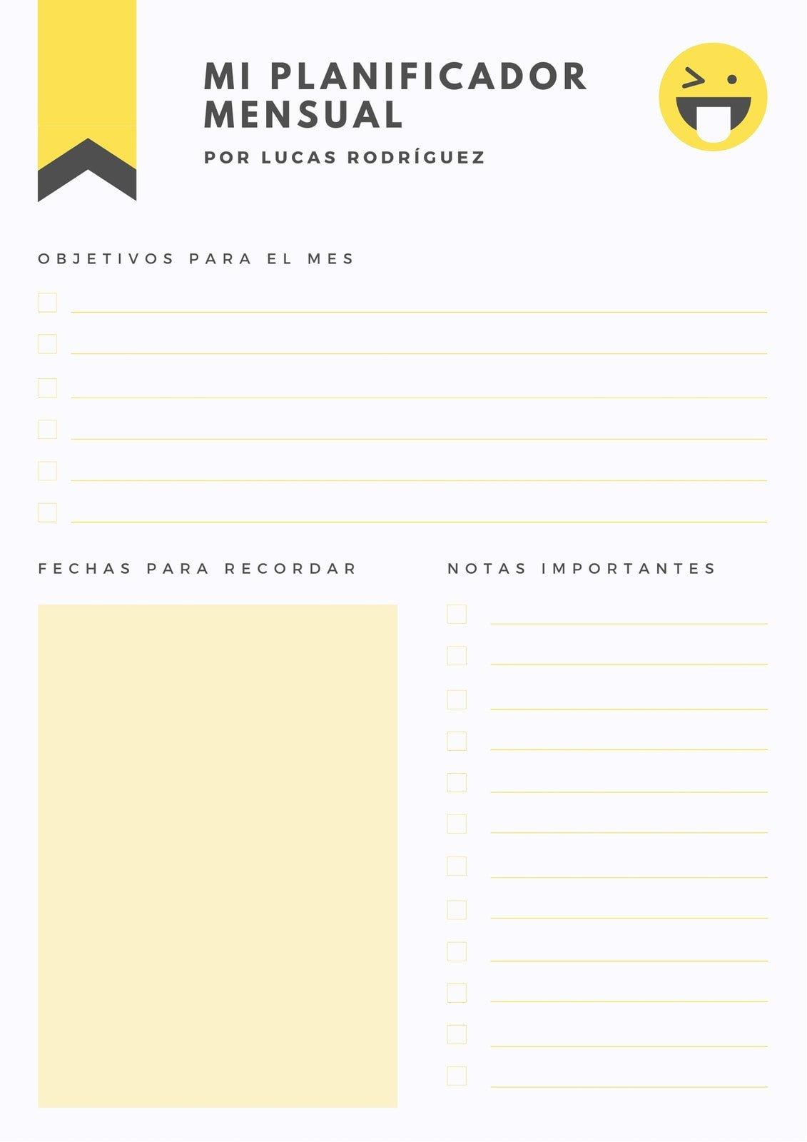 Amarillo y Carbón General Personal Mensual Planificador