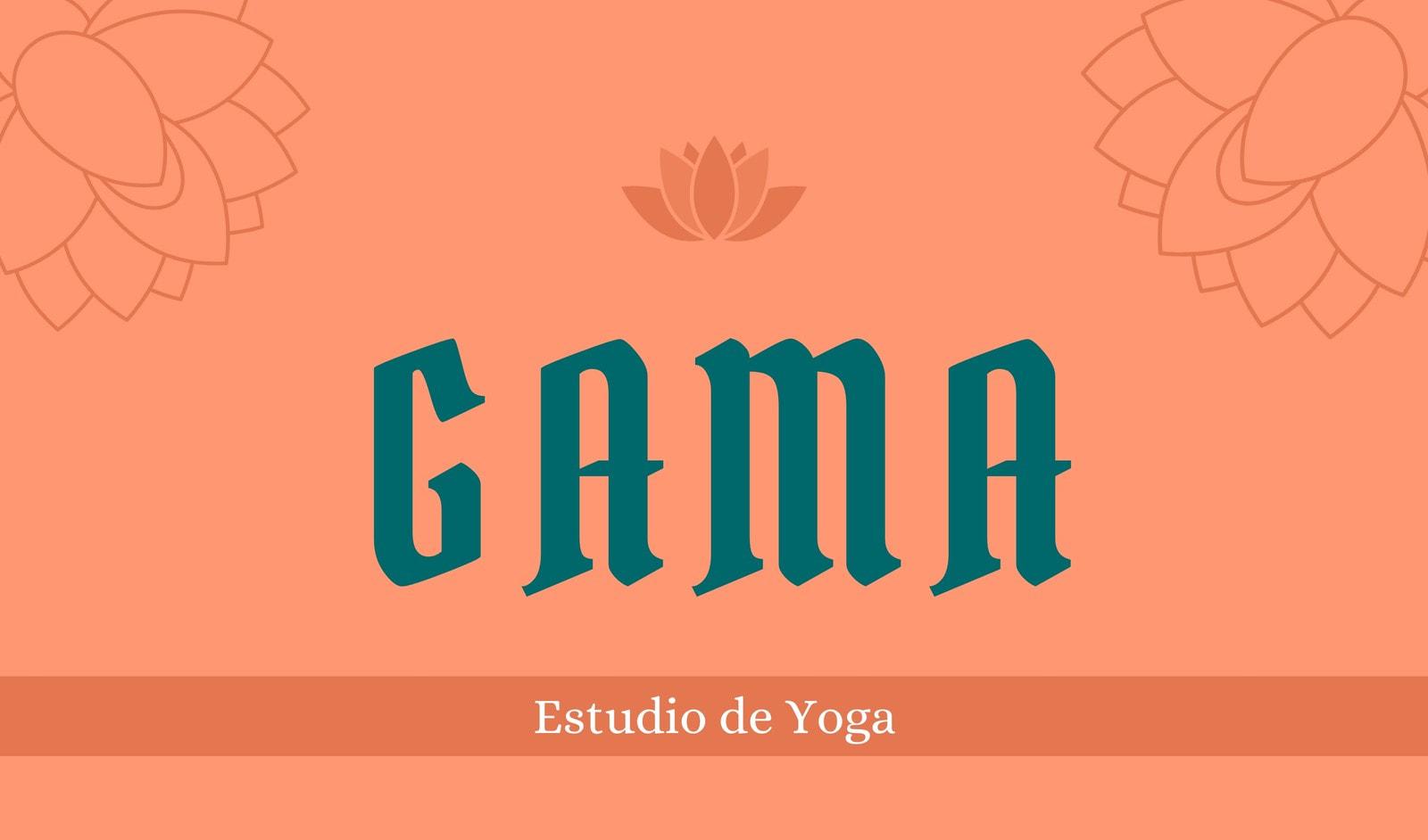 Estudio de yoga natural con ilustración de flor de loto con fondo salmón y azul verde Tarjeta de presentación