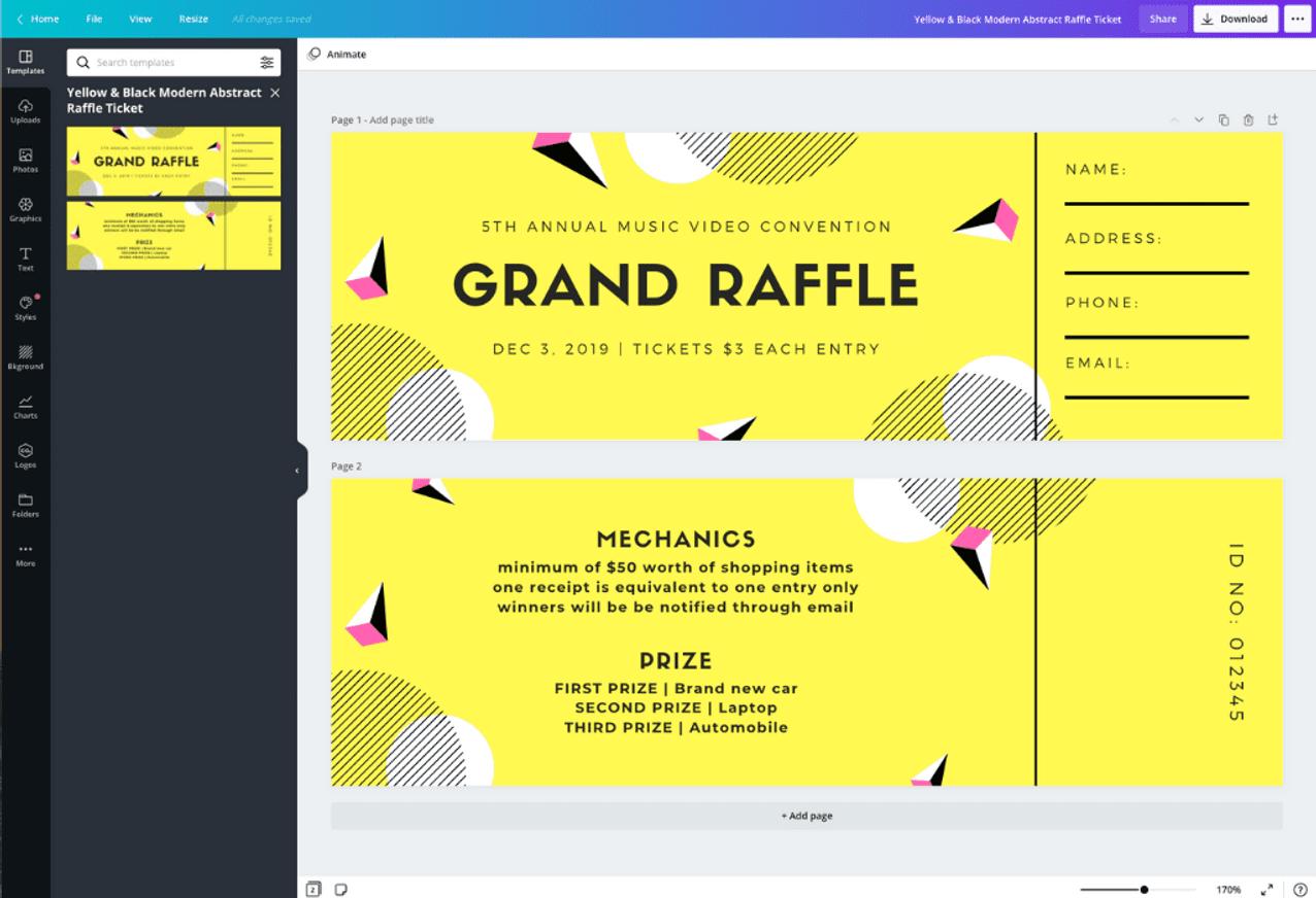 Free Online Raffle Ticket Maker Design A Custom Raffle Ticket Canva
