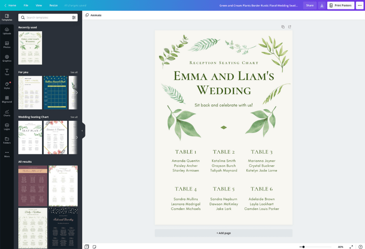 Free Online Wedding Seating Chart Maker Design A Custom Wedding Seating Chart In Canva