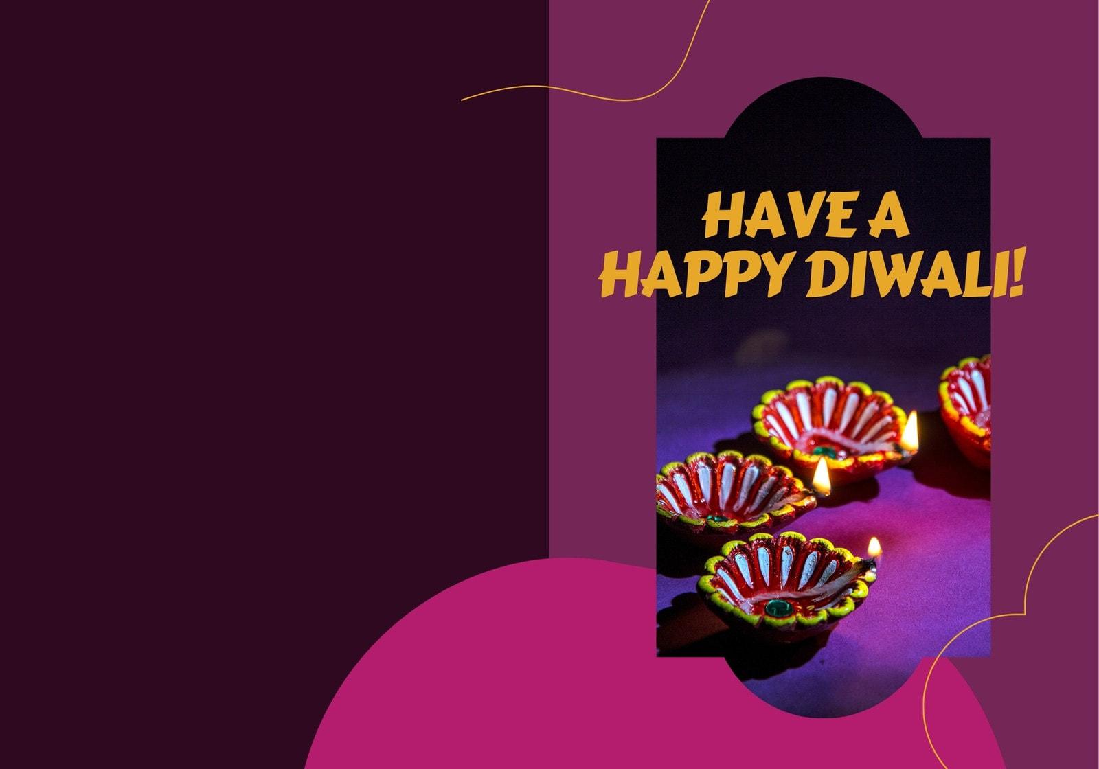 Colorful Photo Candle Happy Diwali Folded Card