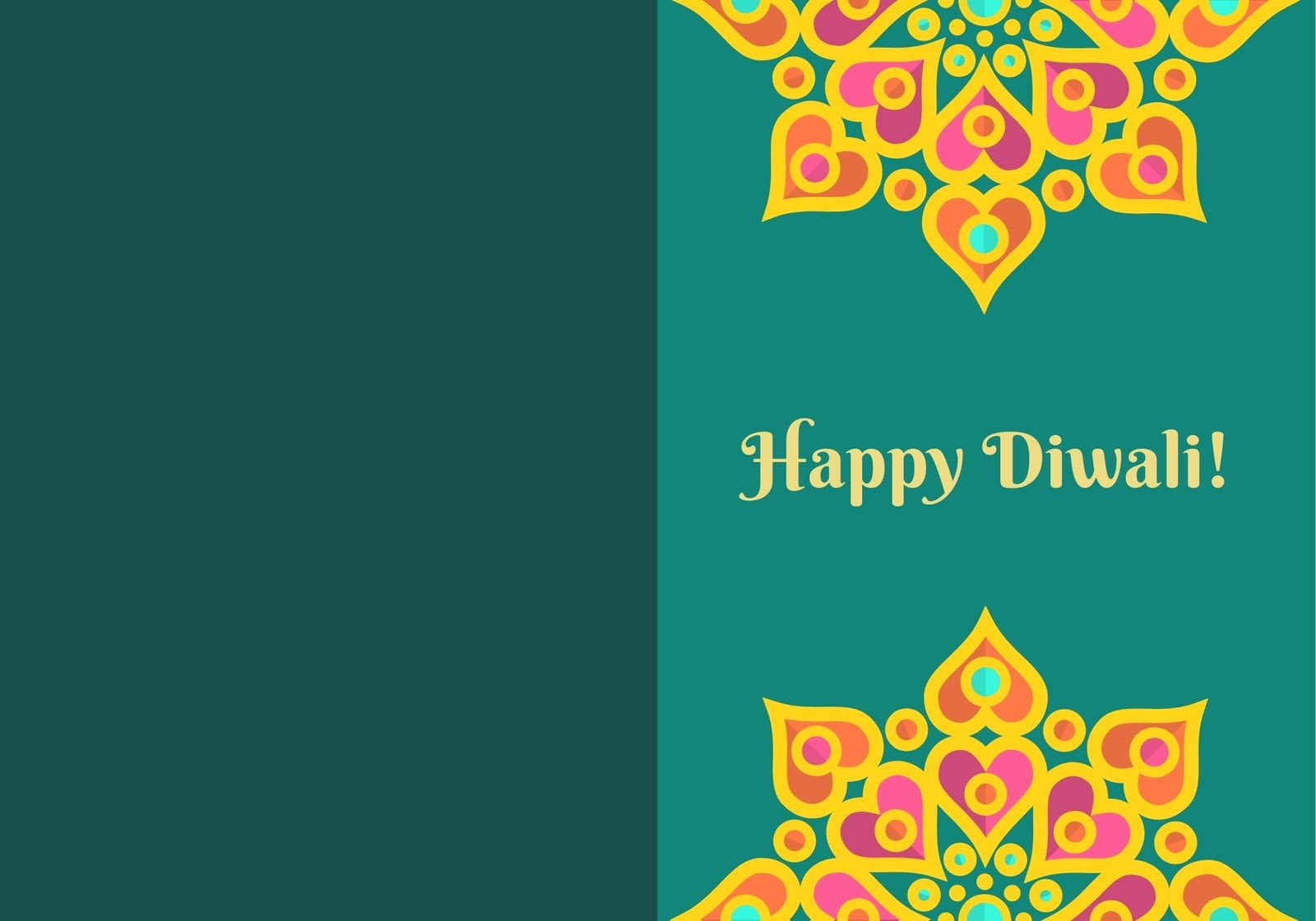 Orange Yellow and Teal Diwali Festival Greetings Folded Card