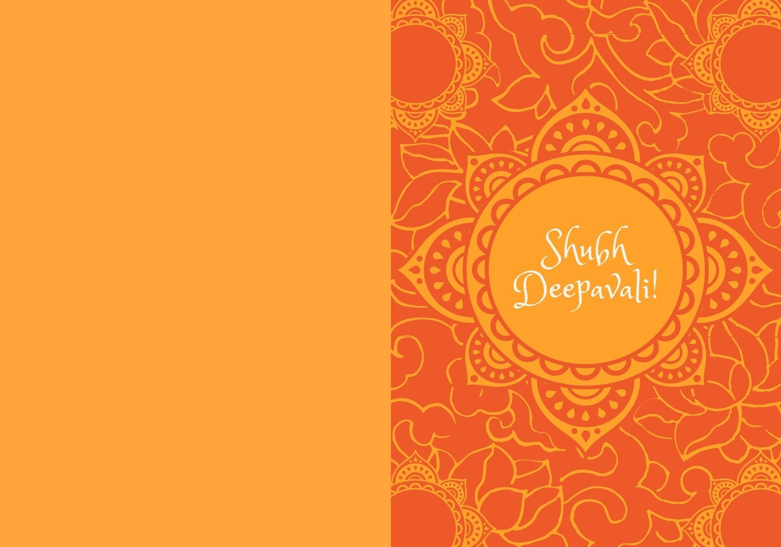 Orange Decorative Diwali Folded Card