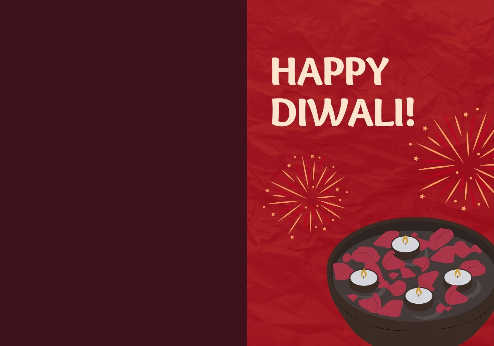 Red Illustration Happy Diwali Folded Card
