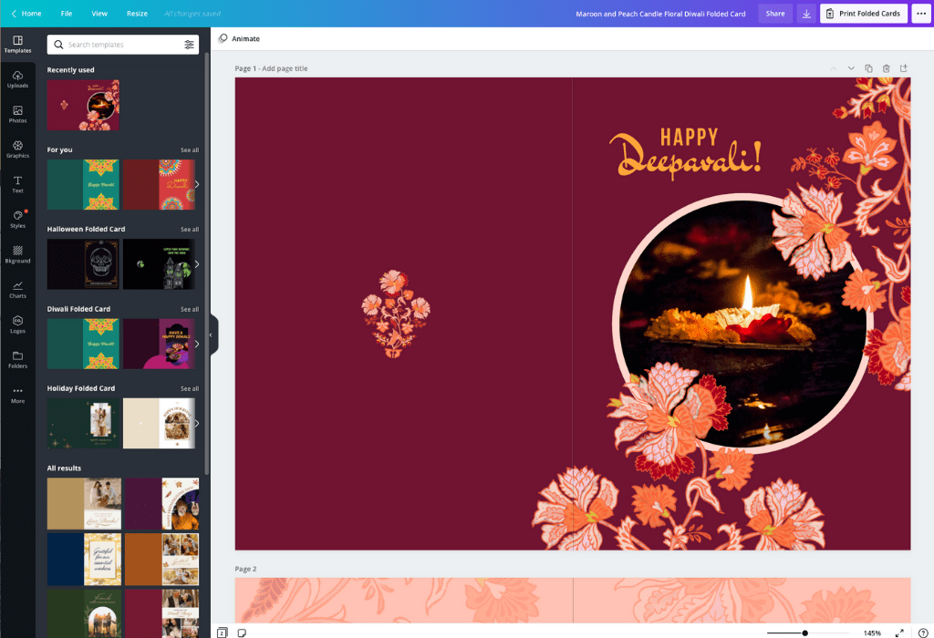 How to make Diwali cards - Canva