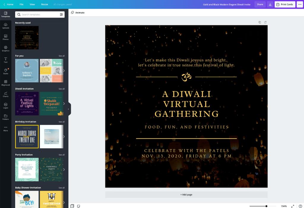 How to make a Diwali invitation card - Canva