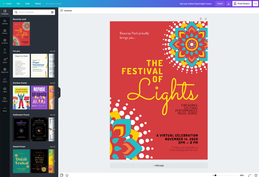 How to make Diwali posters - Canva