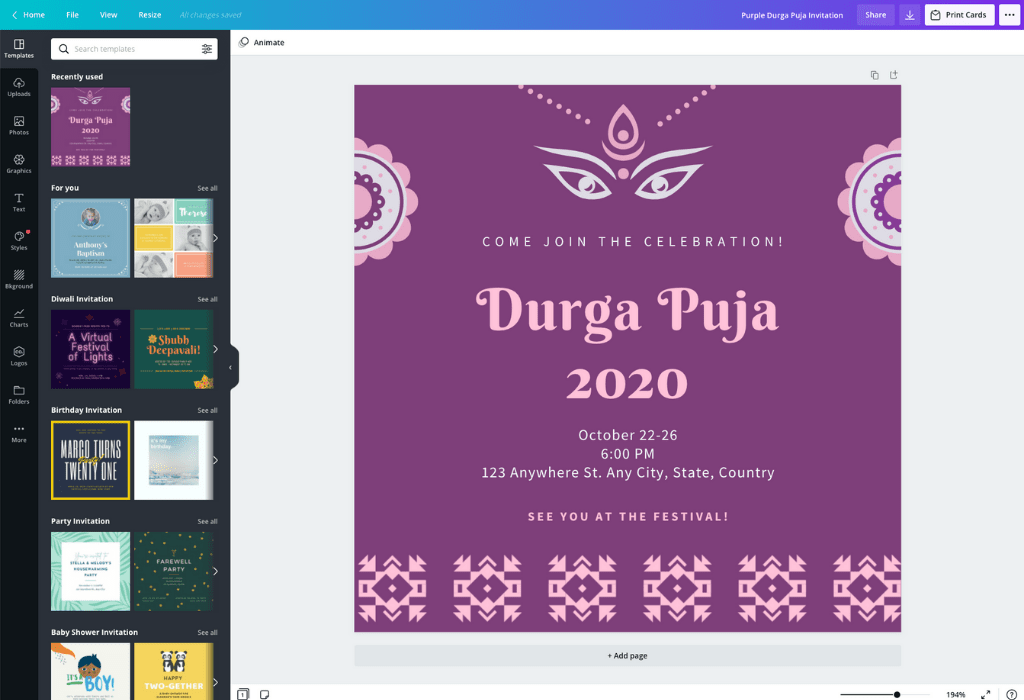 How to make Puja invitation card - Canva