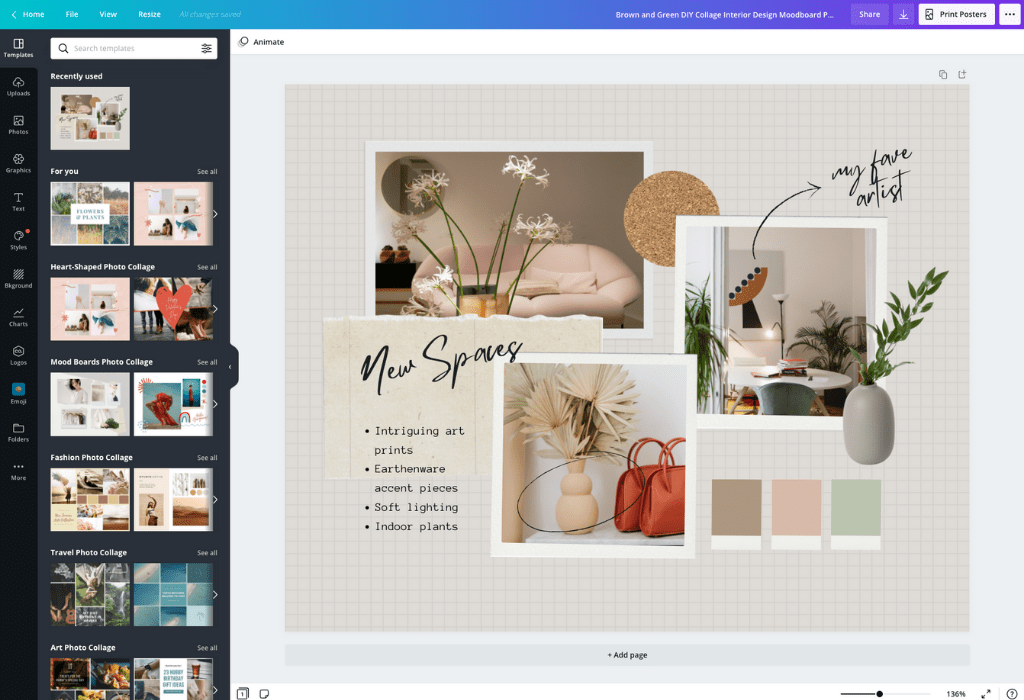 How to make a mood board - Canva