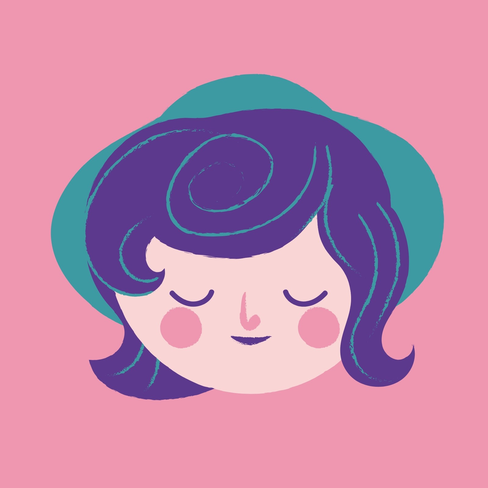 Purple and Pink Cute Circle Woman Face Laptop Sticker