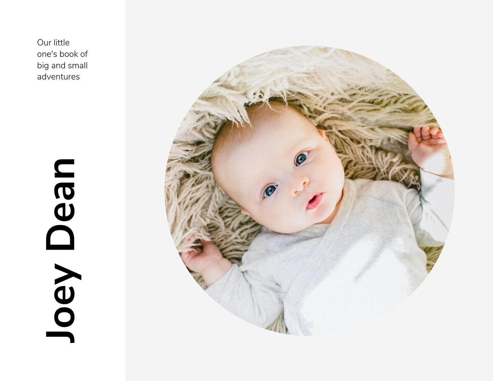White Minimalist Baby Photo Book