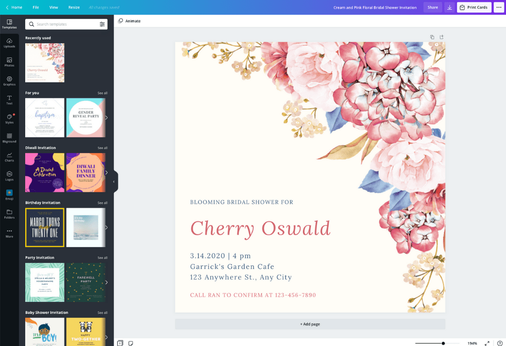 How to make a bridal shower invitation - Canva