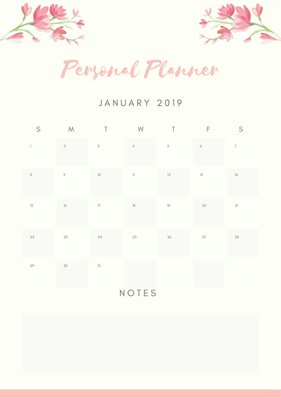 Pastel Pink Floral Border Personal Planner