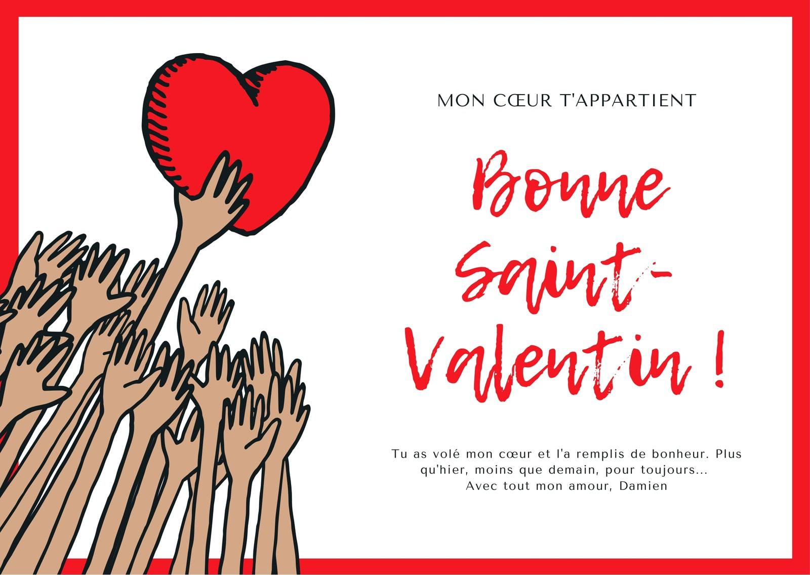 Rouge Cœur et Mains Illustration Saint-Valentin Carte
