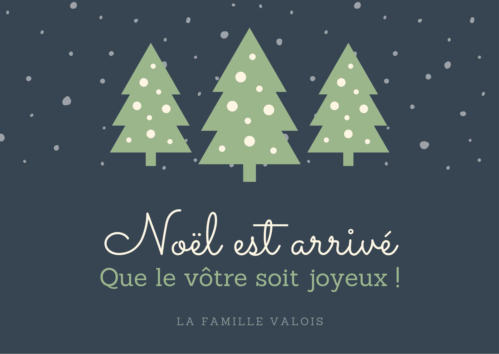 Vert Arbres et Neige Noël Art Carte