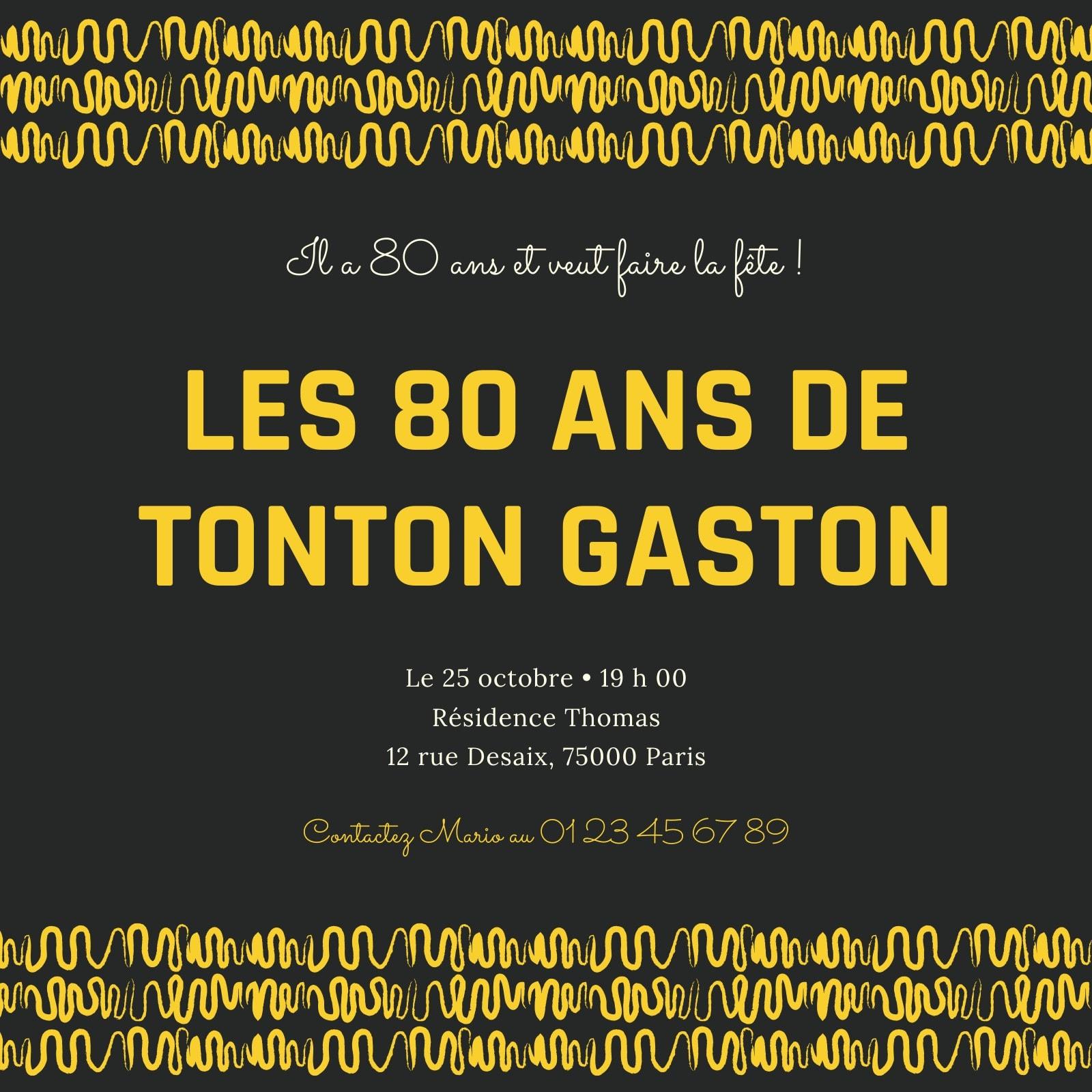 Noir Jaune Coups de pinceau 80e Anniversaire Invitation