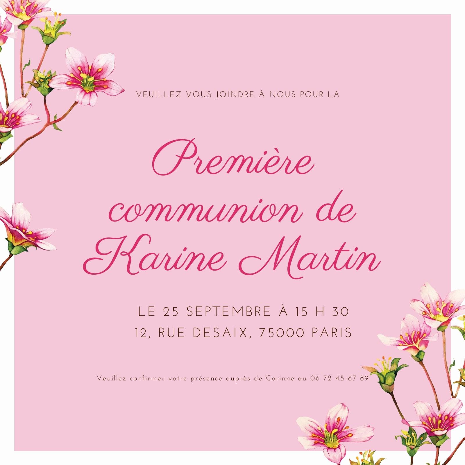 Rose Peintes Fleurs Première Communion Invitation