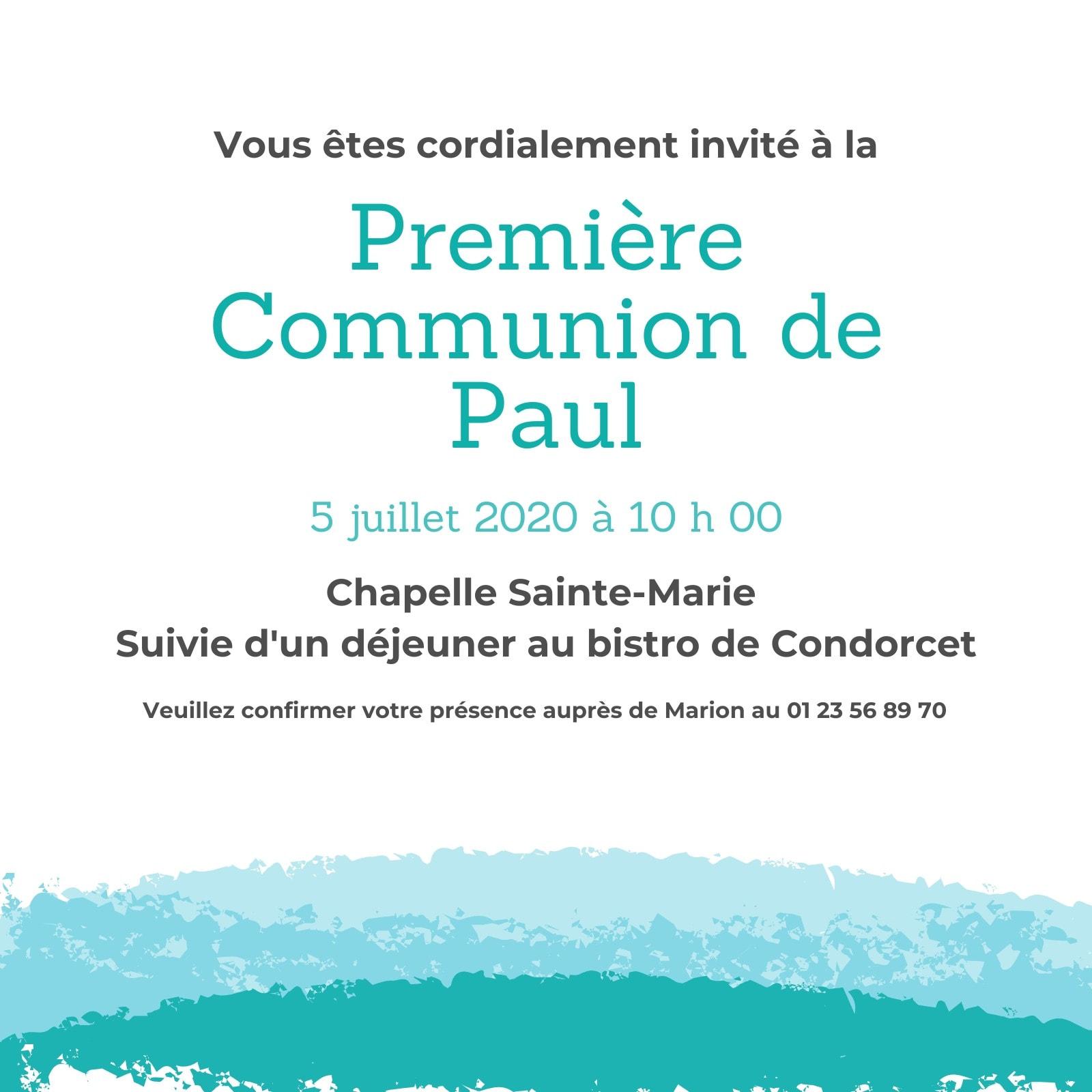 Createur De Faire Part De Communion Gratuit En Ligne Canva