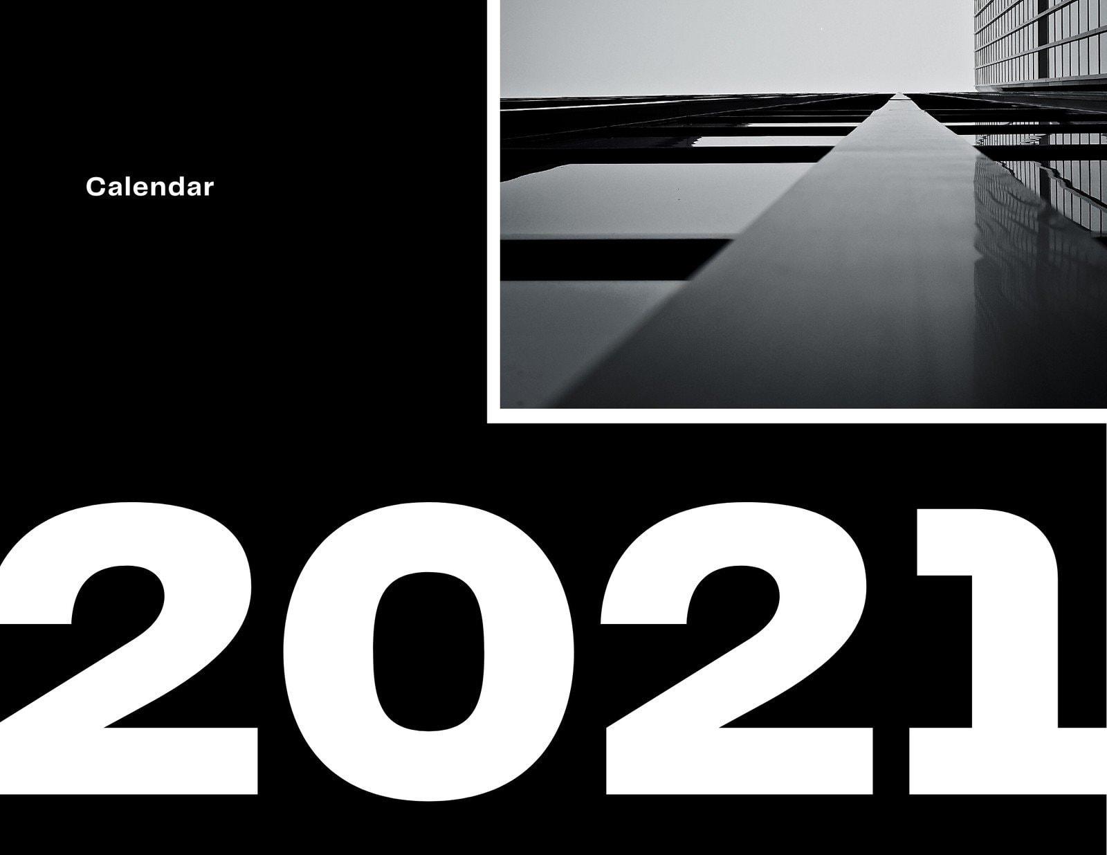 Black and White Modern Minimal Architecture Wall Calendar