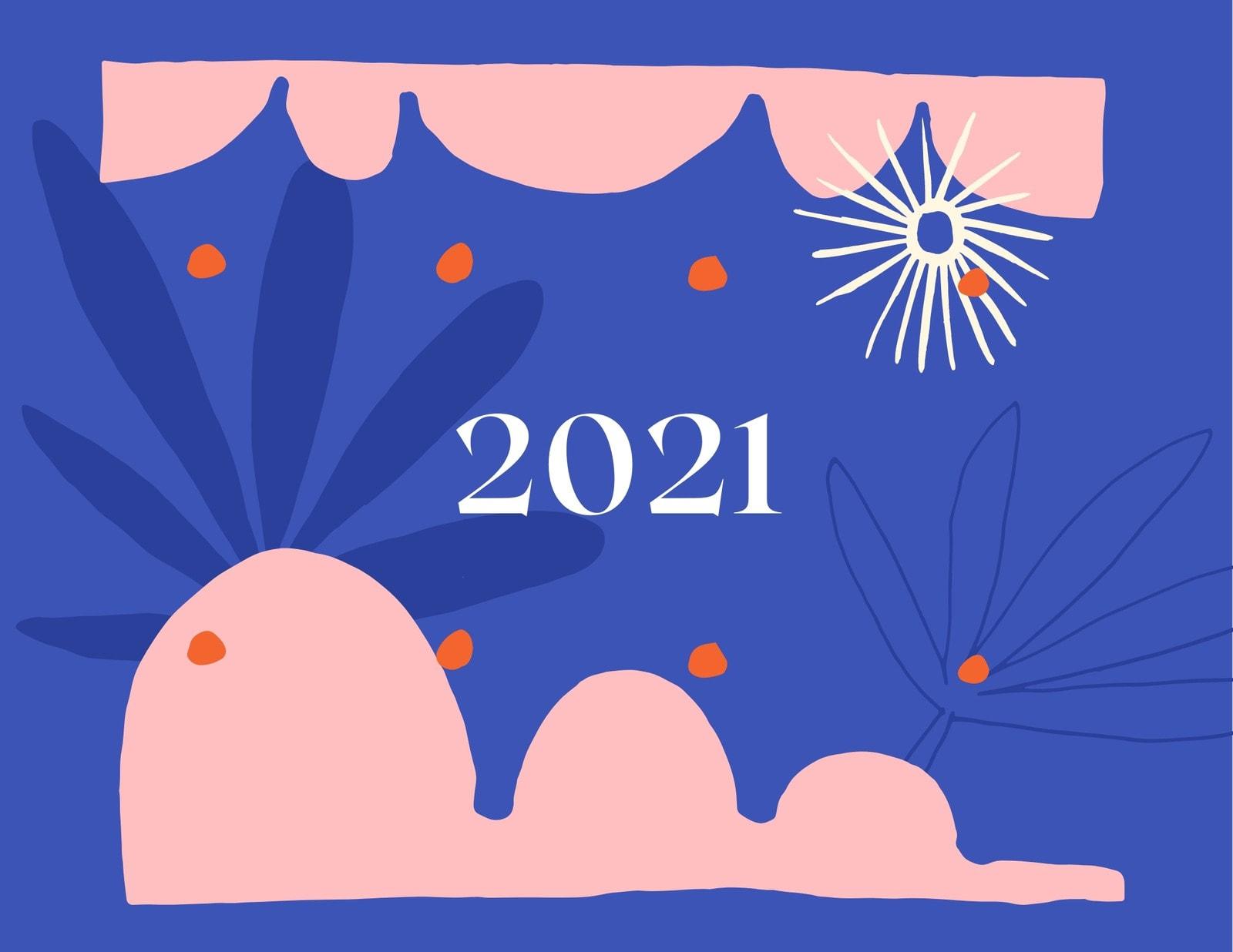 Blue Orange and Pink Handmade Organic Women Wall Calendar