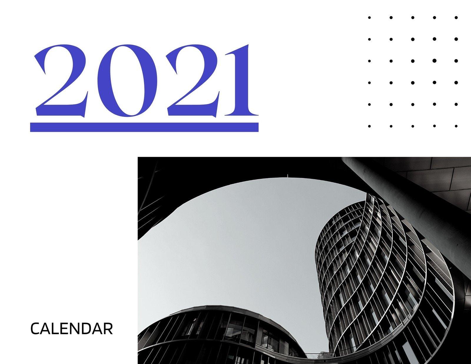 Blue Greyscale Modern Minimal Architecture Wall Calendar