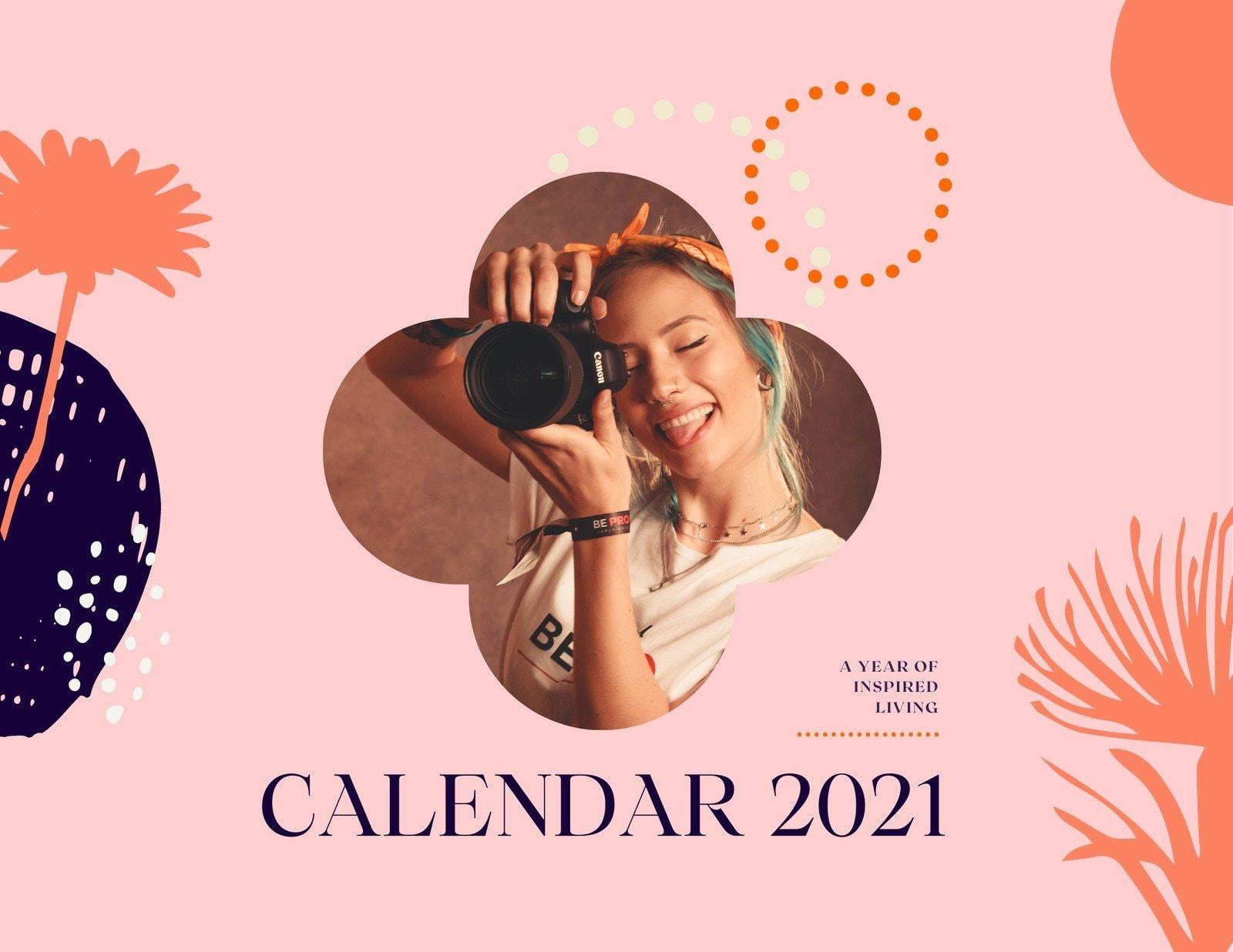 Pink Orange and Violet Handmade Organic Woman Wall Calendar