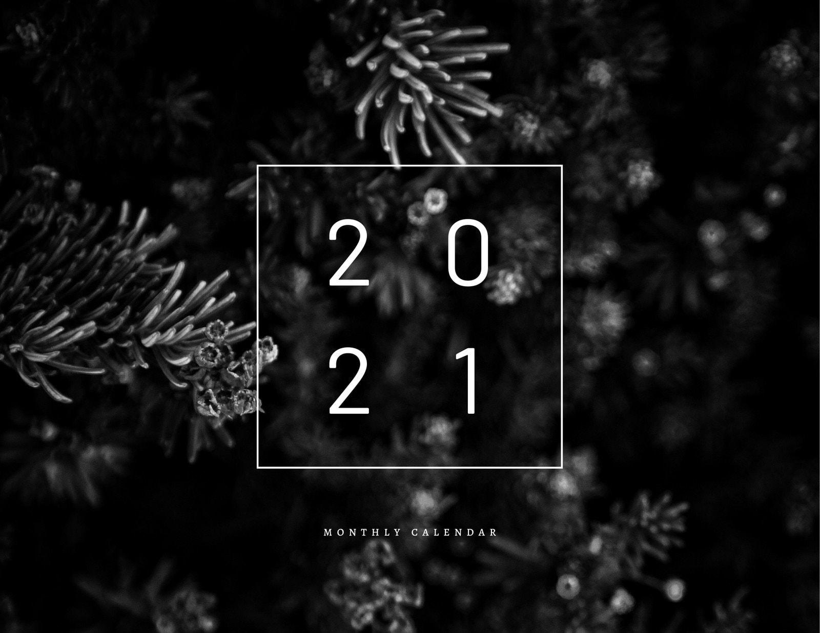 Black and White Underwater Modern Minimal Quote Wall Calendar