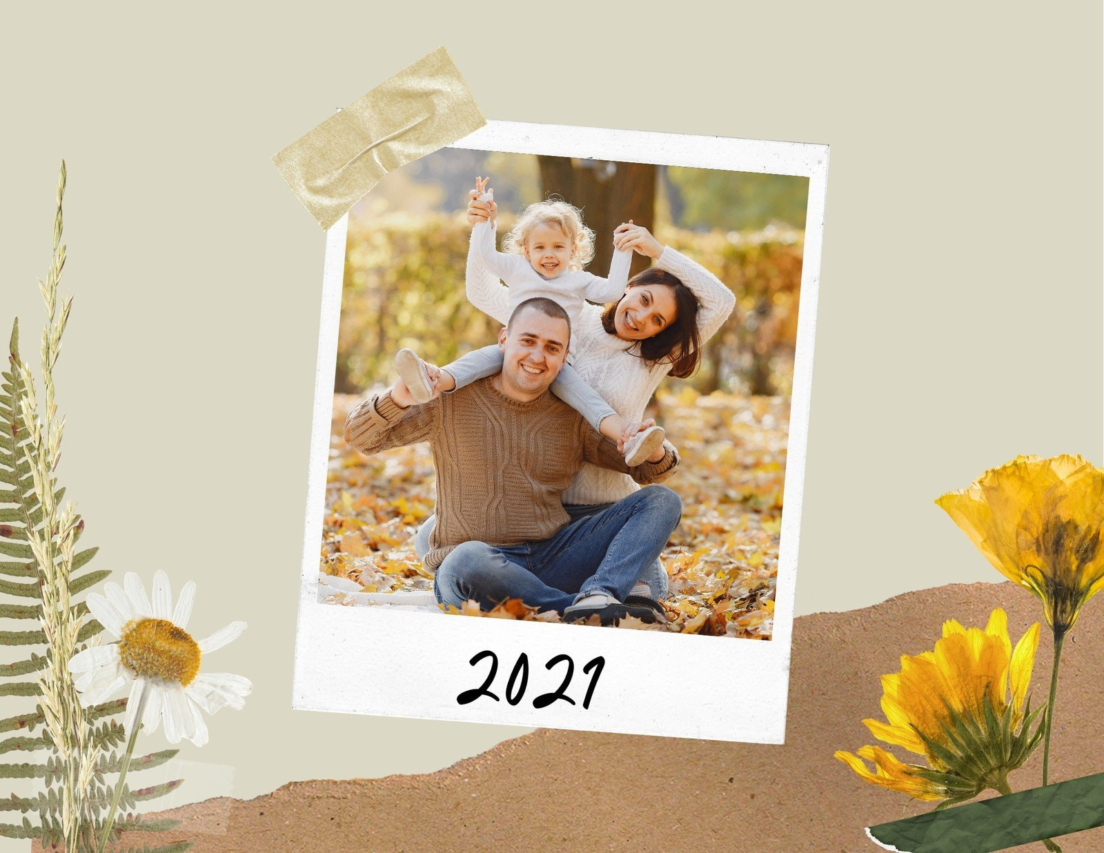 Beige Gold and Green Scrapbook Family and Pets Wall Calendar