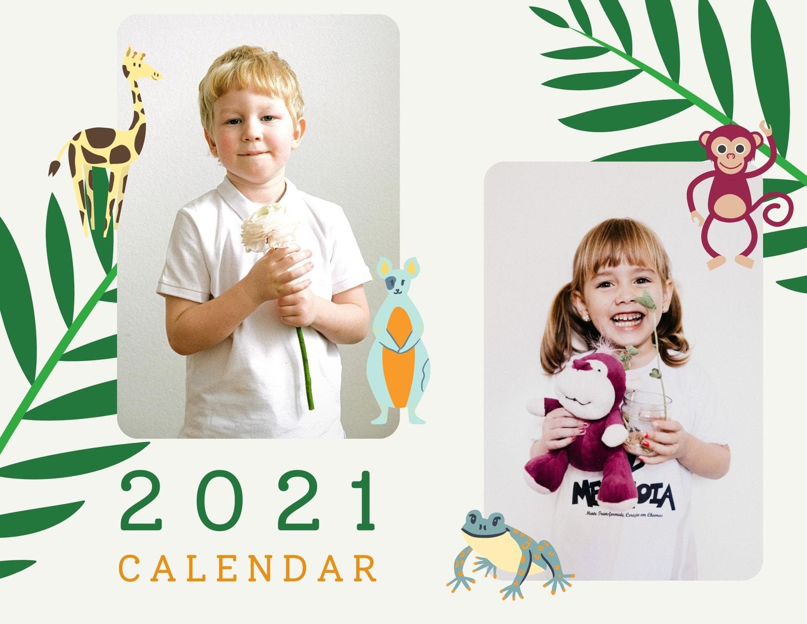 Colorful Animals Cute & Friendly Kids Wall Calendar