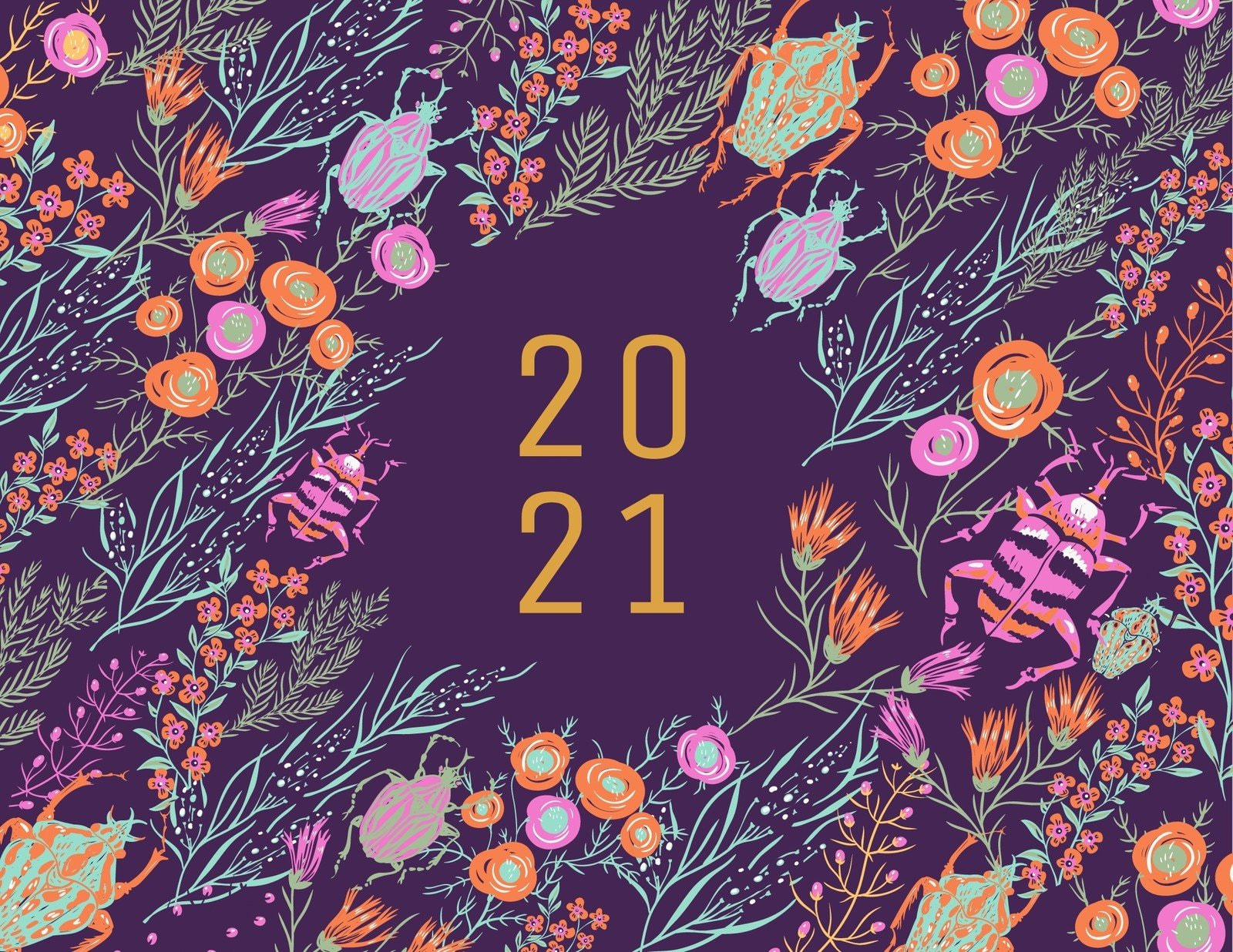 Colorful Floral Bold Illustration Woman Wall Calendar