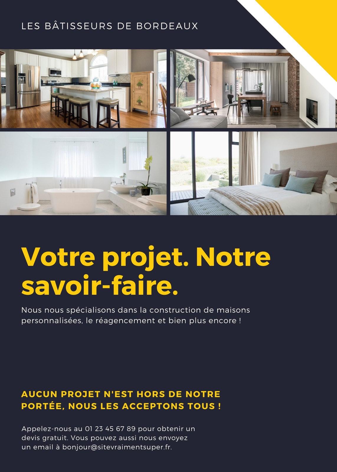 Jaune maison services entrepreneur société Flyer