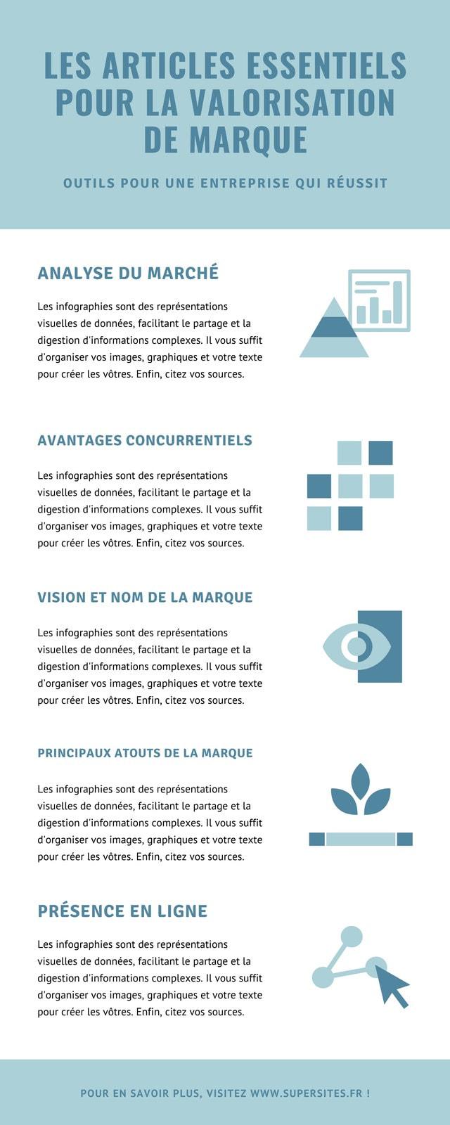 Bleu Minimaliste Marque Infographie