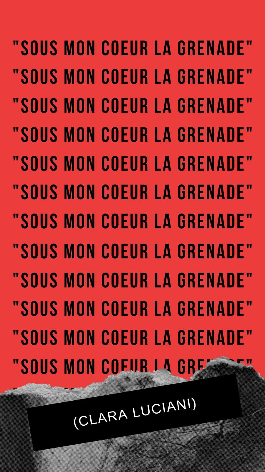 Story grenade photocollage noir,gris et rouge