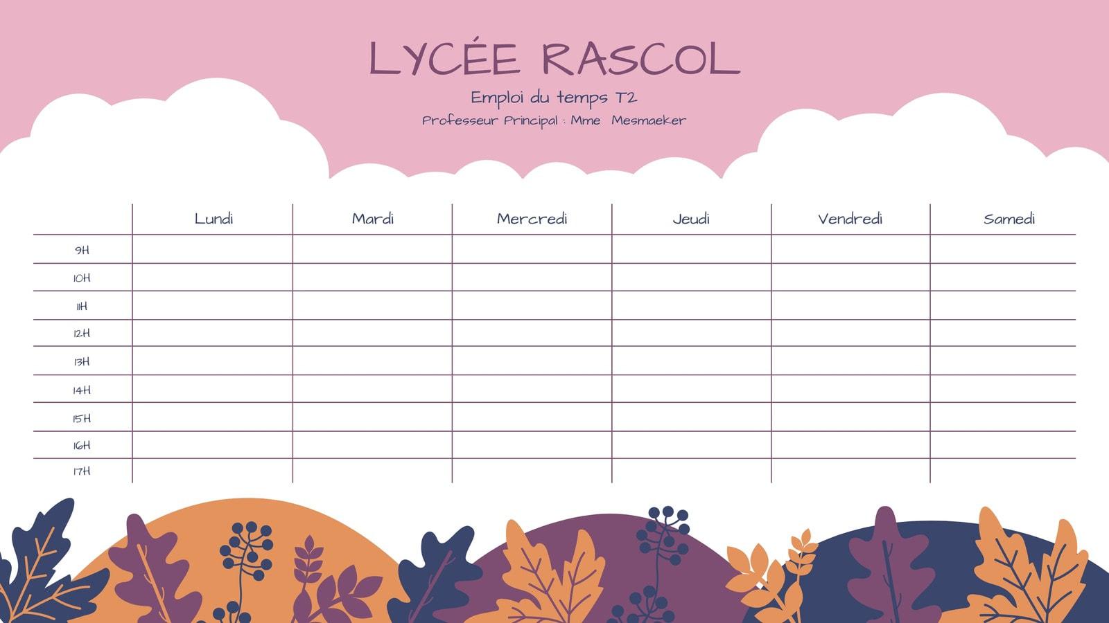 Emploi du temps automne, ciel rose, nuage blanc et feuilles colorées