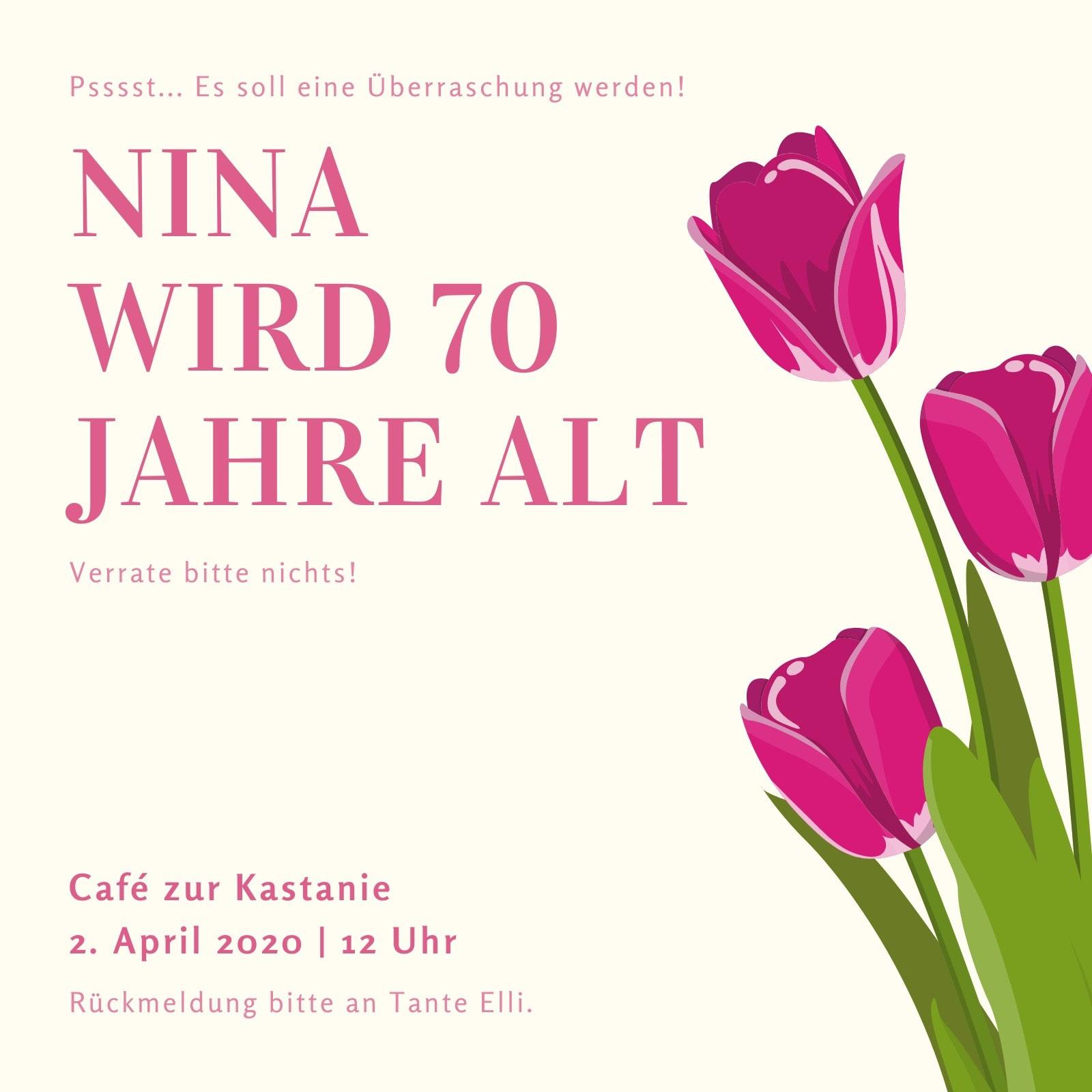 Cremefarben und Rosa Blume 70. Geburtstag Einladung