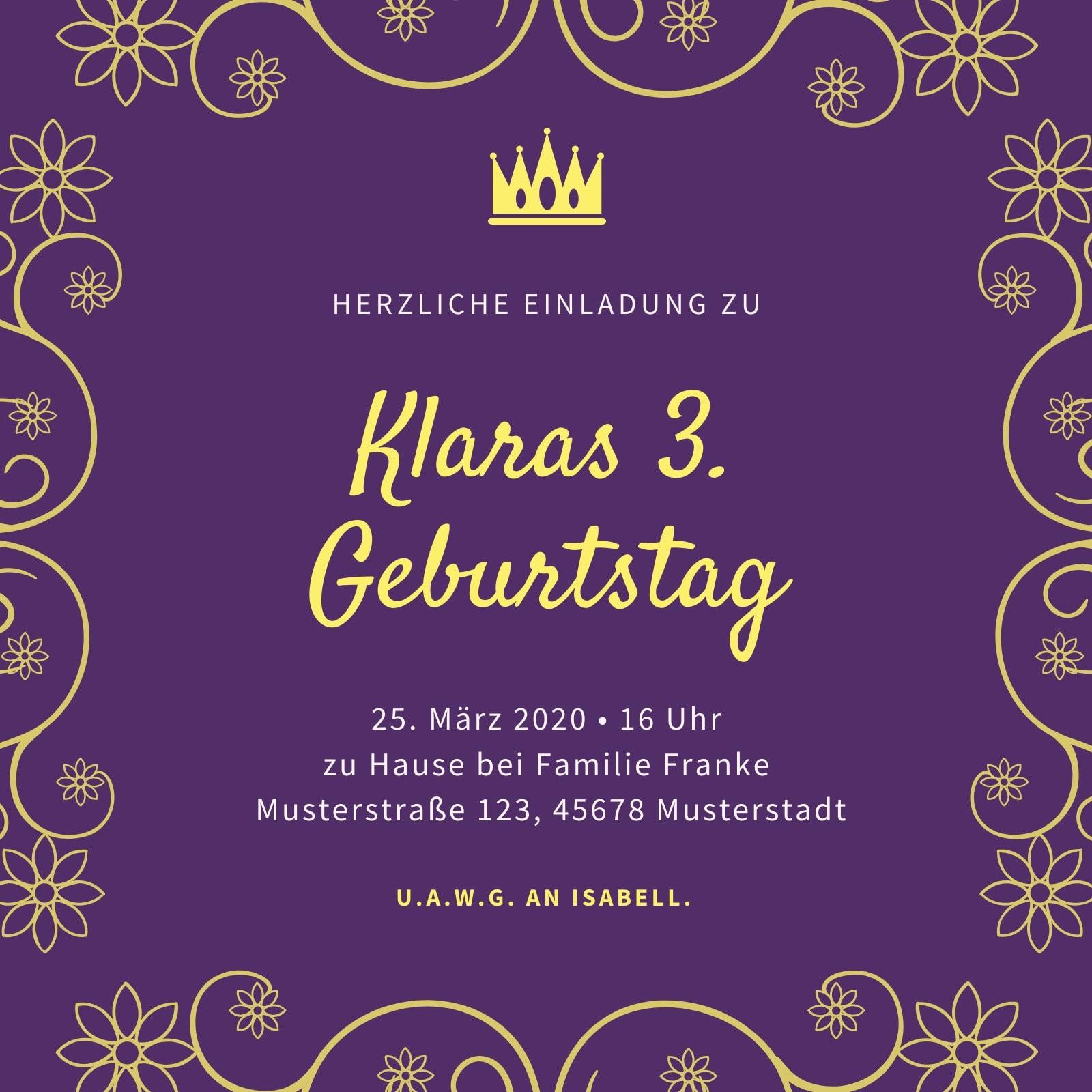 Violett Rosa Blume Kringel Prinzessin Einladung