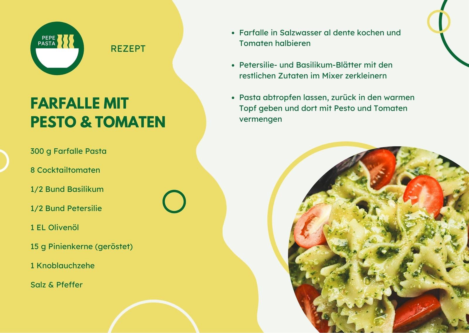 Gelb Fröhlich Pasta Rezept Karte