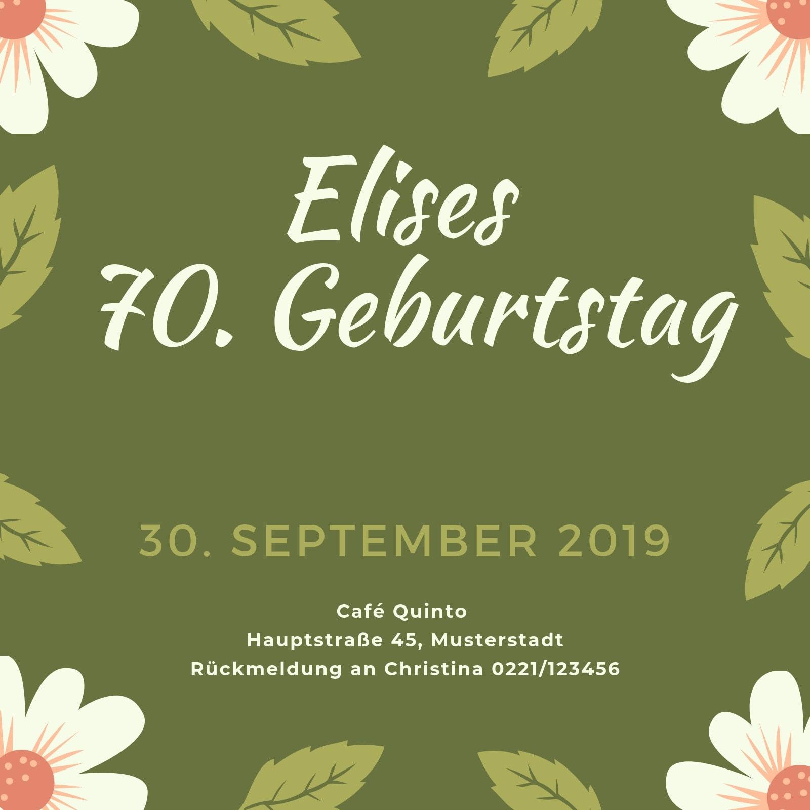 Grün Blumen 70. Geburtstag Einladung