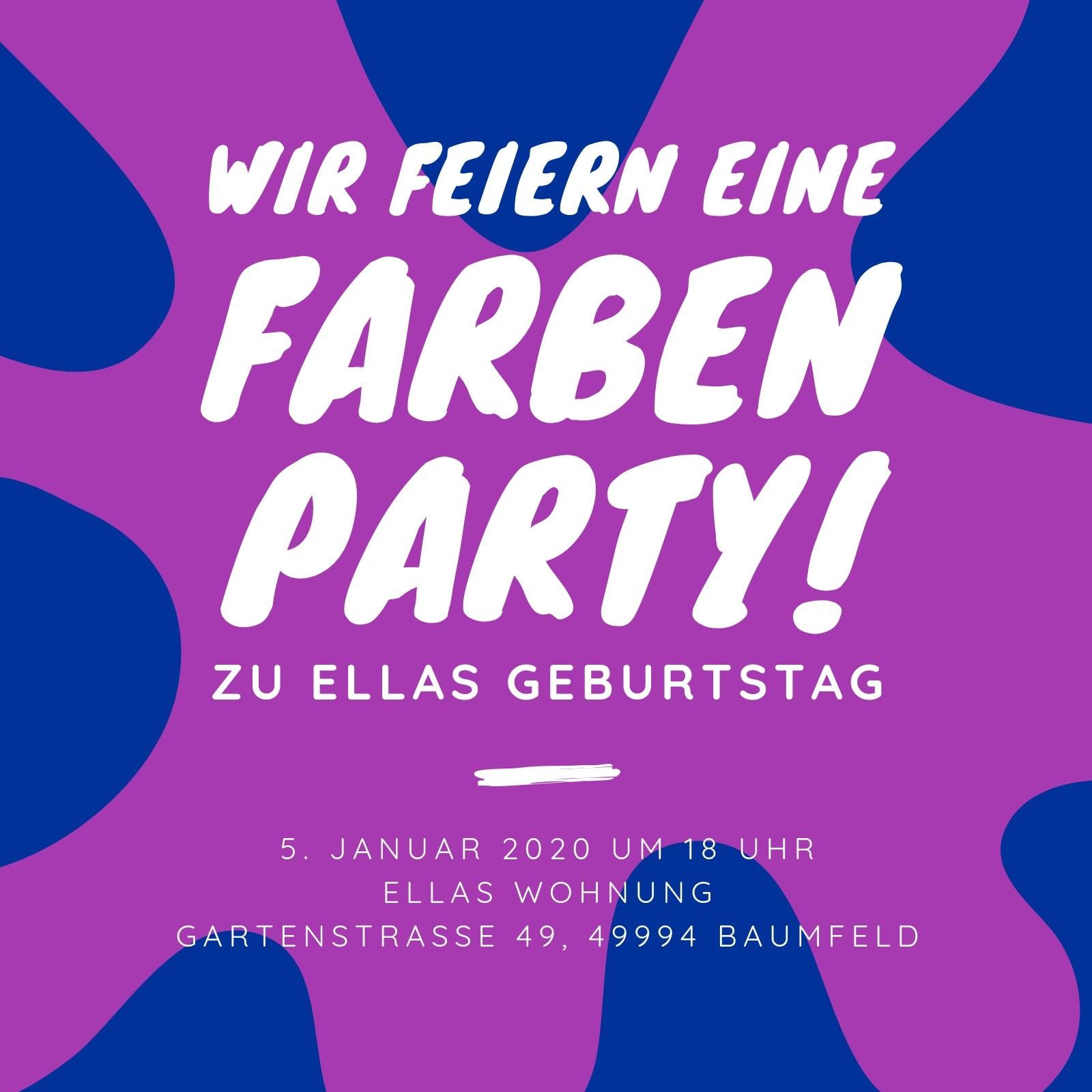 Blau Lila Farbe Spritzer Party Geburtstag 18. Einladung