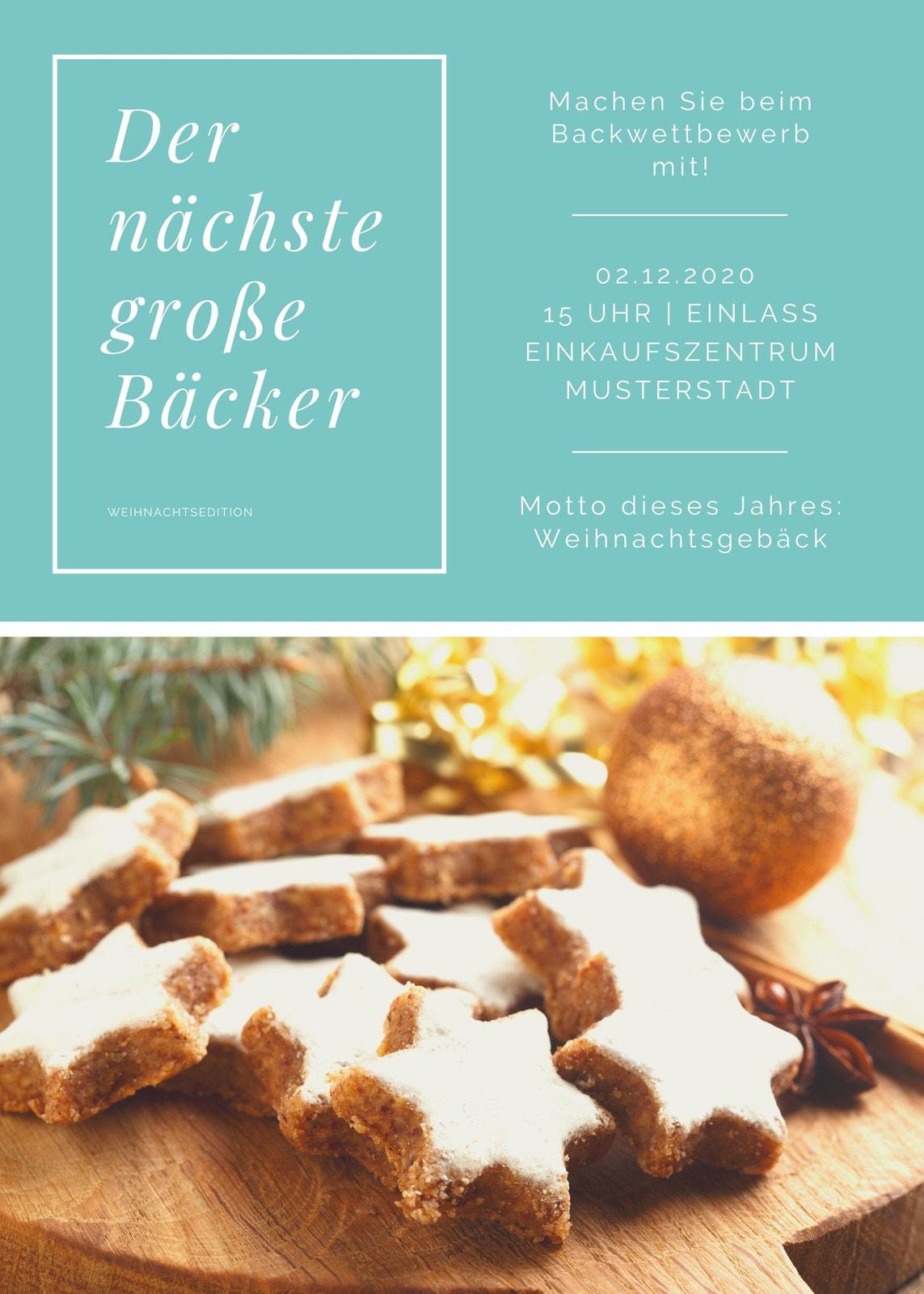 Blau Bake-Off Veranstaltung Flyer