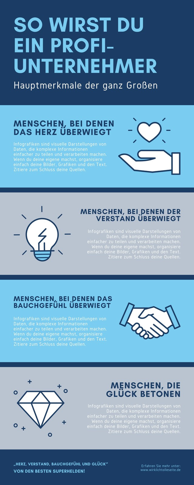 Blau Unternehmer Persönlichkeiten Unternehmen Infografik