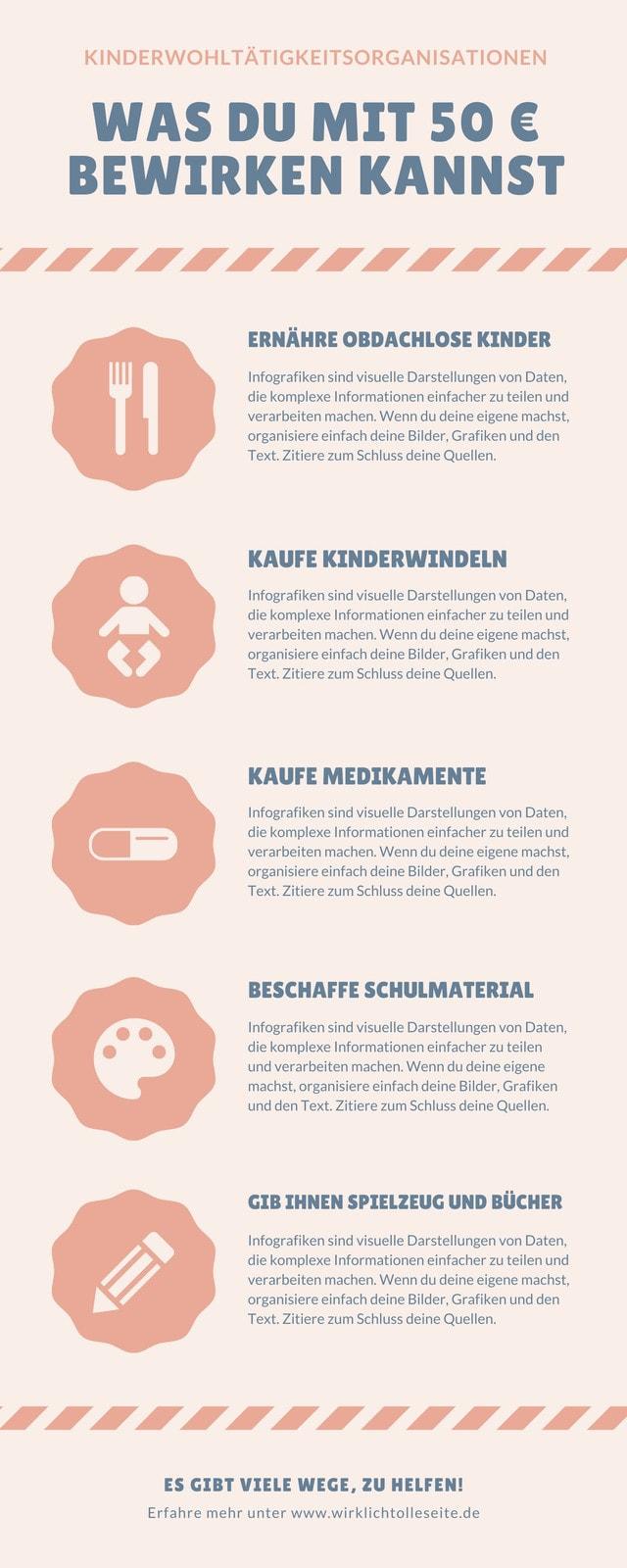 Pfirsich Kinder-Wohltätigkeitsorganisation-Infografik