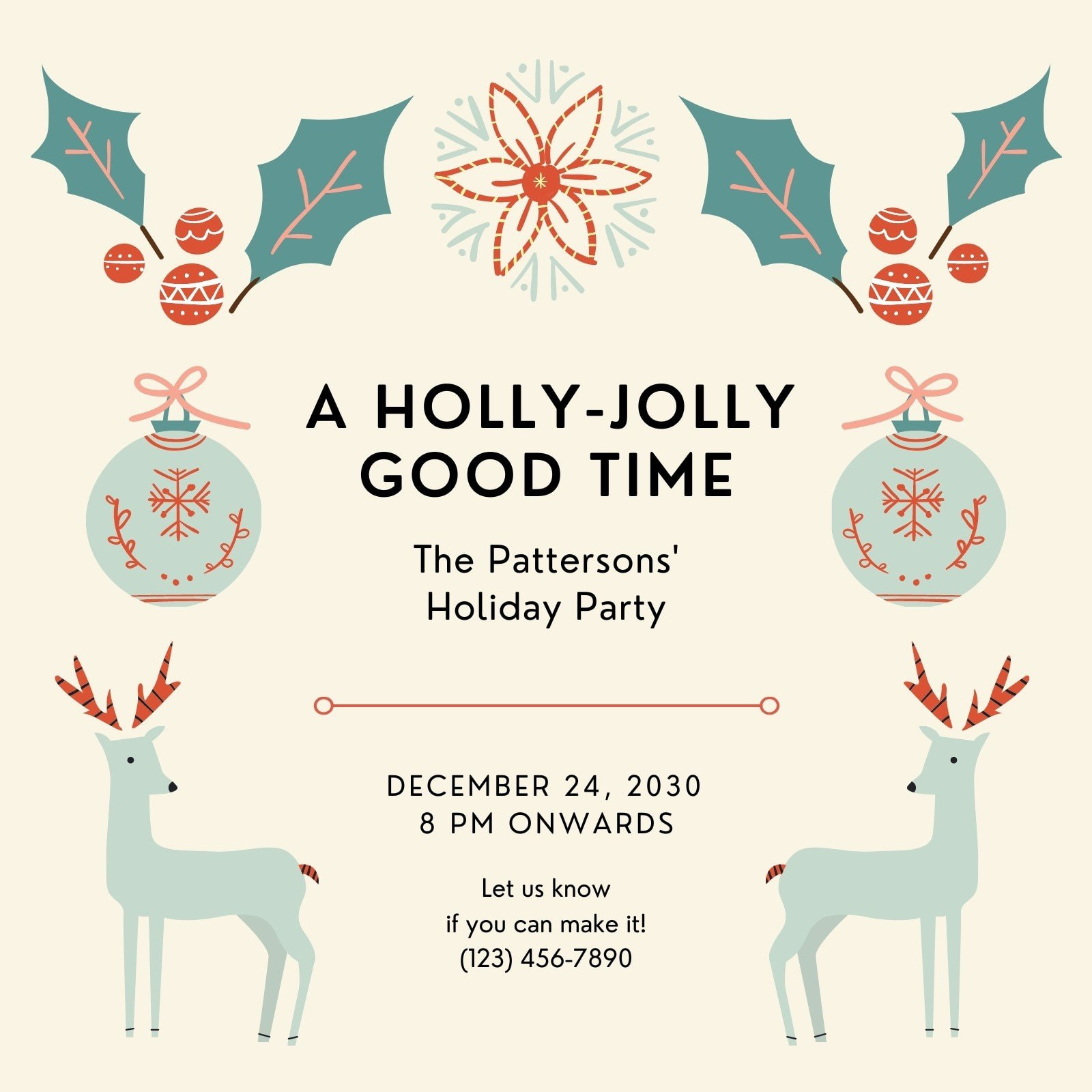Green and Beige Festive Christmas Party Invitation