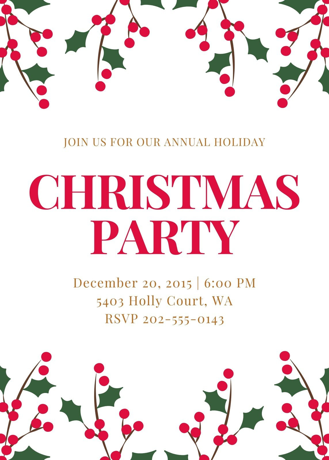 White Mistletoe Christmas Party Invitation (Portrait)