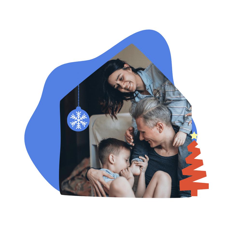 Blue and Orange Family Vibrant Pop Holiday Mug