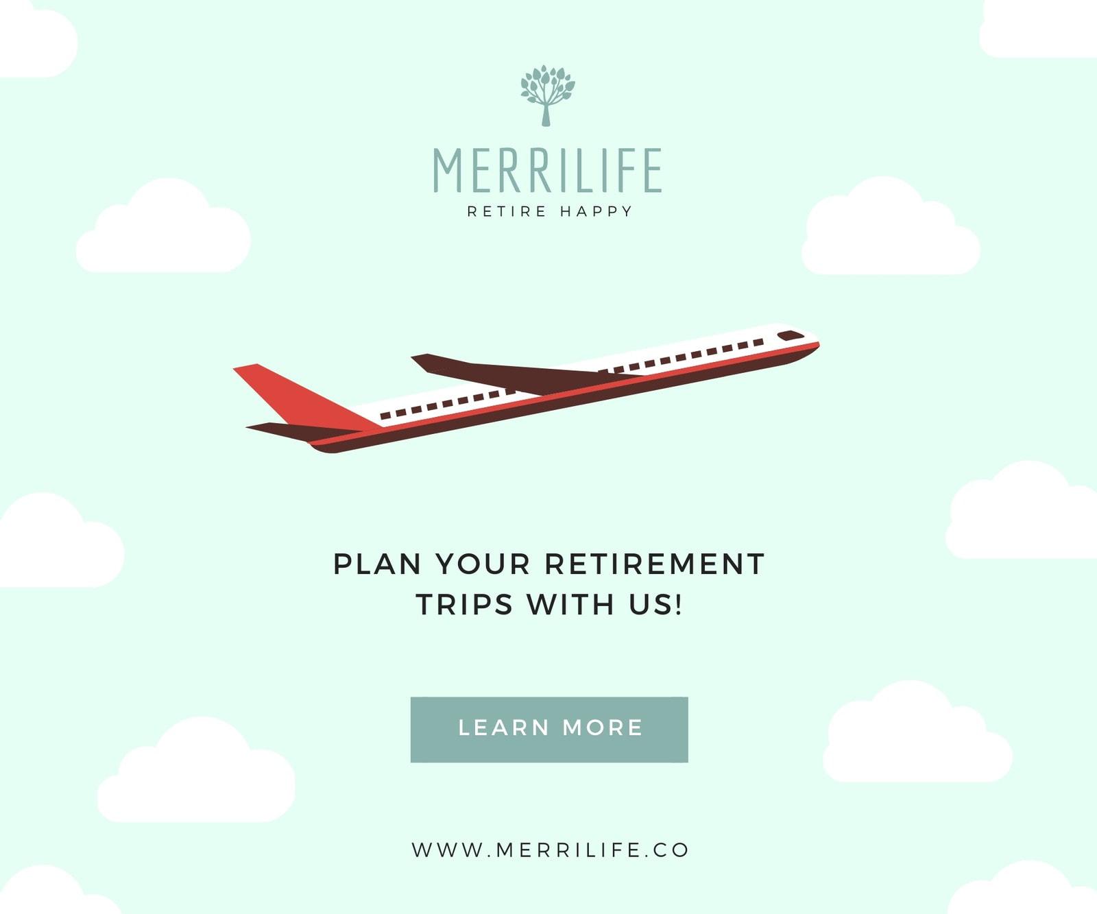 Airplane Retirement Medium Rectangle Banner