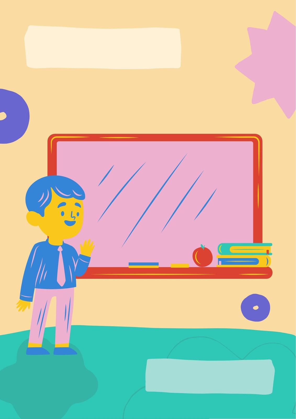 Цветное пастельное портфолио школьника с иллюстрациями детей и учебных принадлежностей