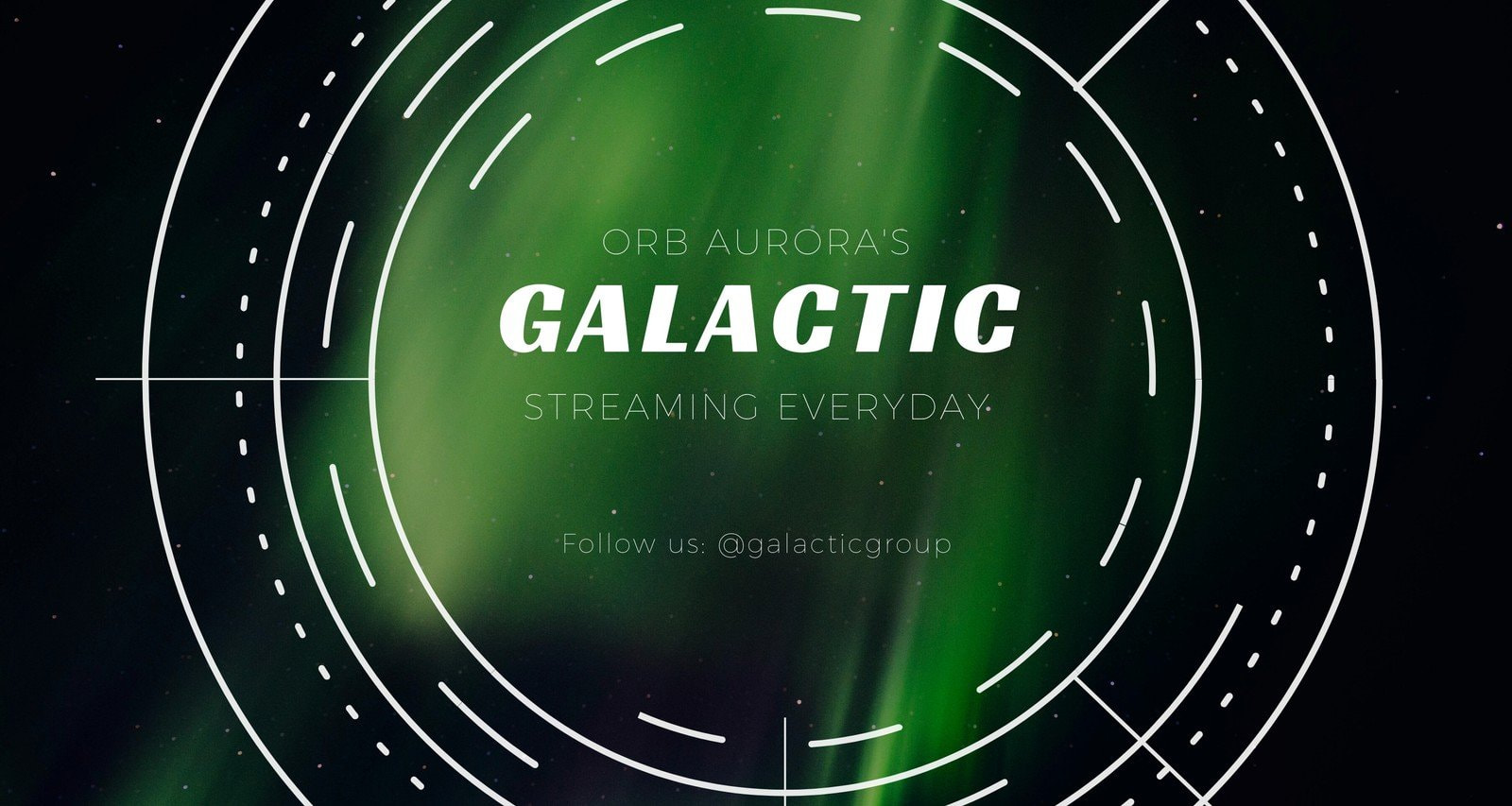 Green Aurora Photo Background with White Galactic Orb Line Vector General Twitch Banner