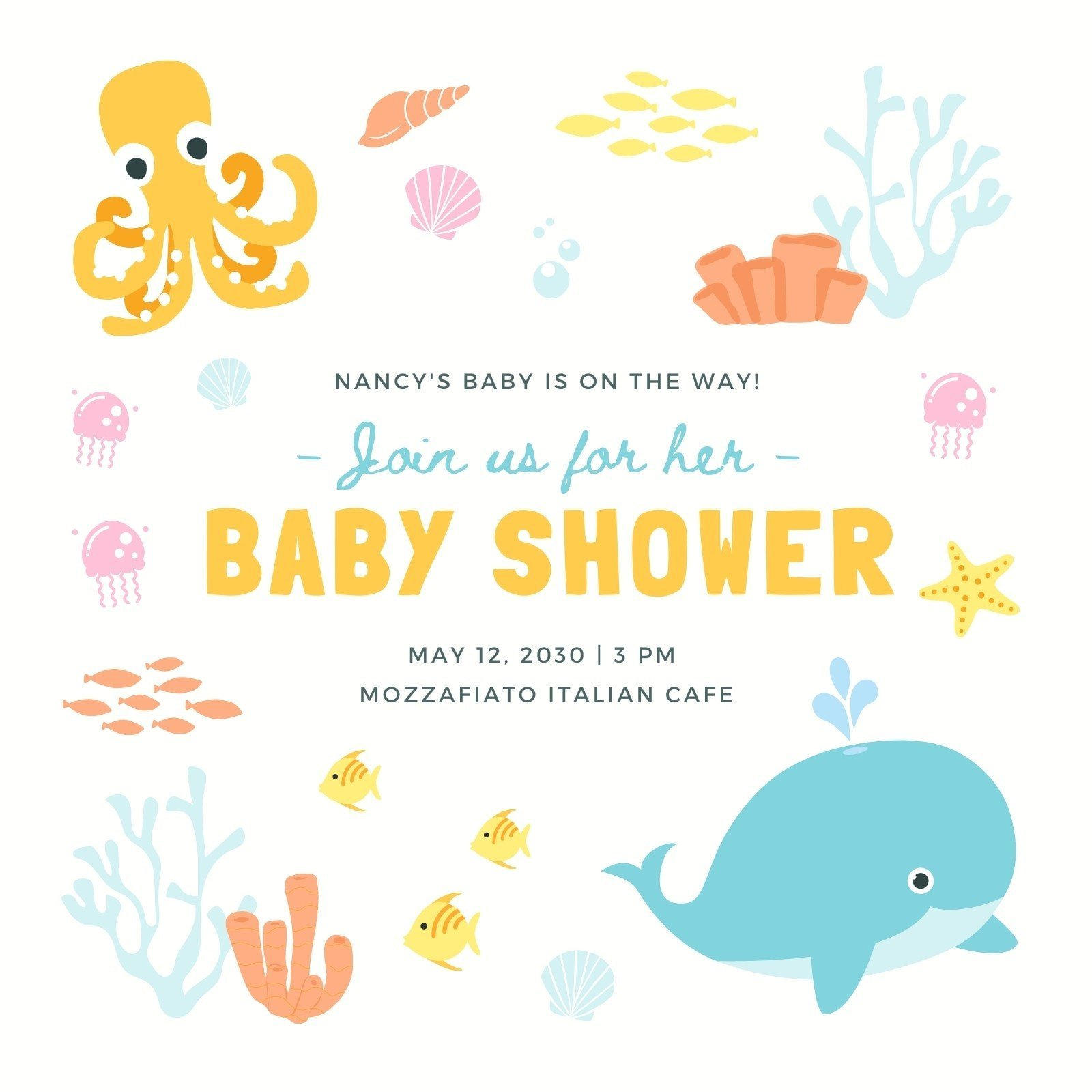 Colorful Fun Illustrated Baby Shower Invitation