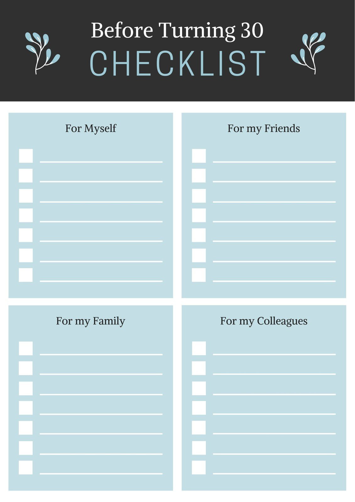 Grey and Blue Simple Leaves Checklist List